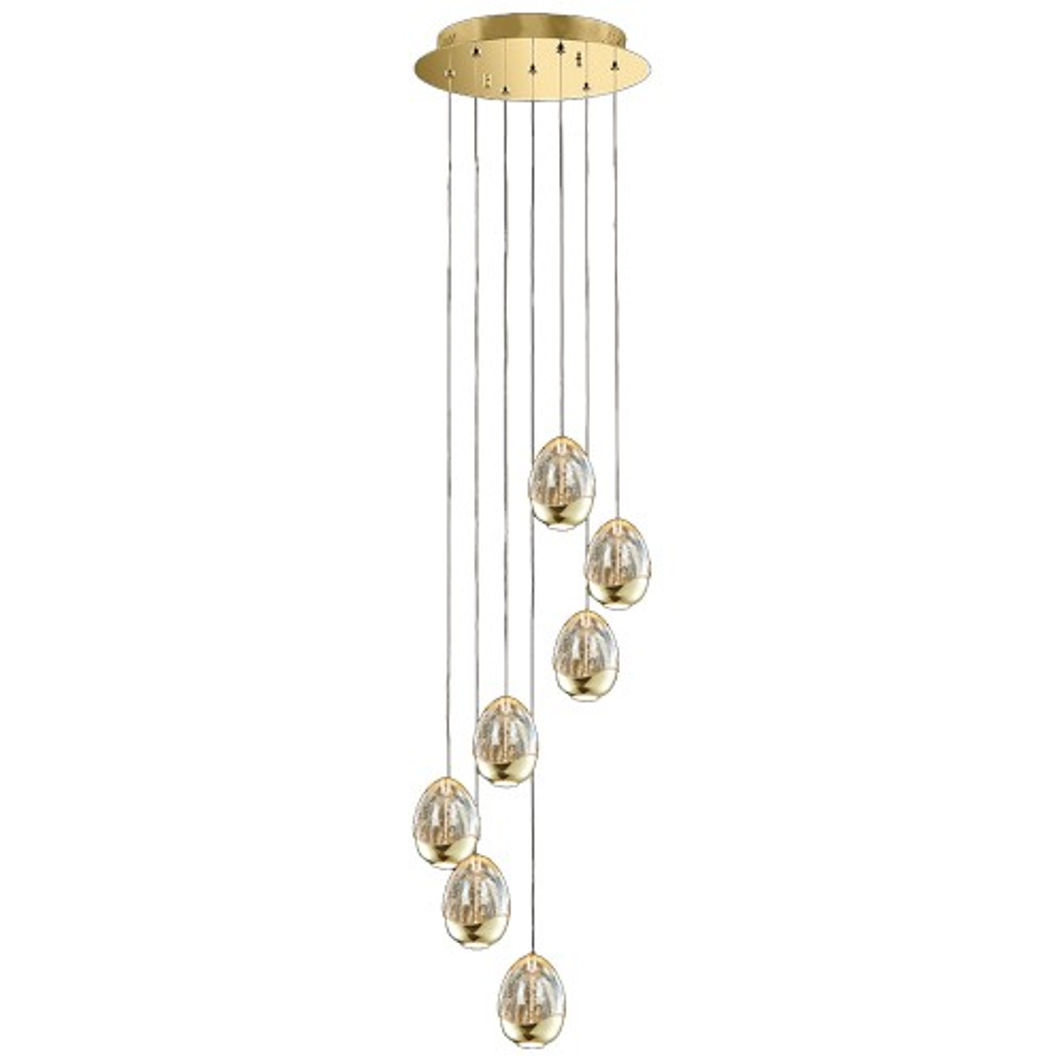 Casa Eden 7 Light Spiral Pendant, Gold/champagne