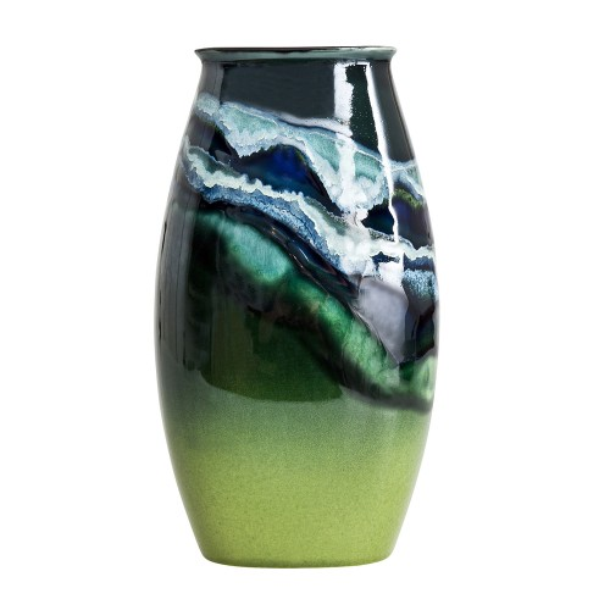 Poole Pottery Maya Manhattan Vase 26cm, Green/Blue