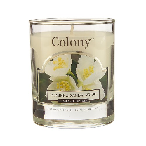 Colony Wax Filled Small Jar Jasmine & Sandal Wood, White