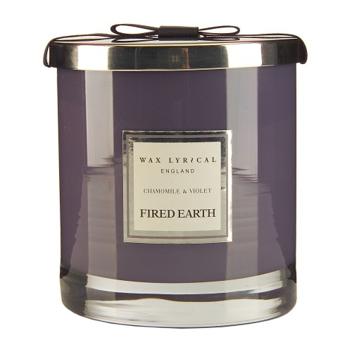Wax Filled Large Glass Jar Chamomile & Violet, Purple