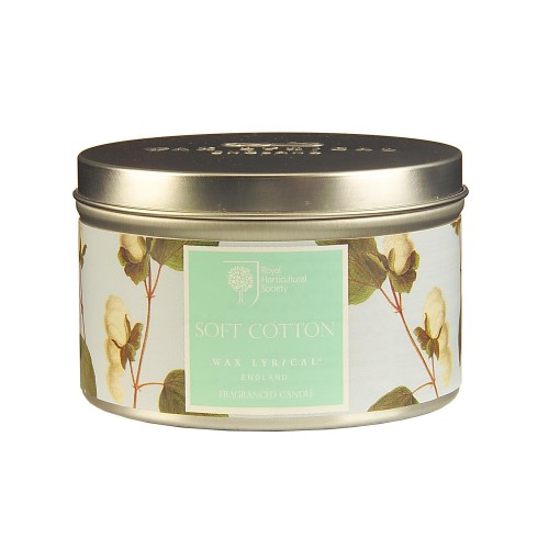 Rhs Scented Wax Filled Tin Soft Cotton, Blue