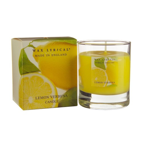 Made In England Wax Filled Glass Lemon Verbena, Yellow