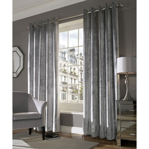 "Ashley Wilde ready made curtains Lux Silver 66""x72"""