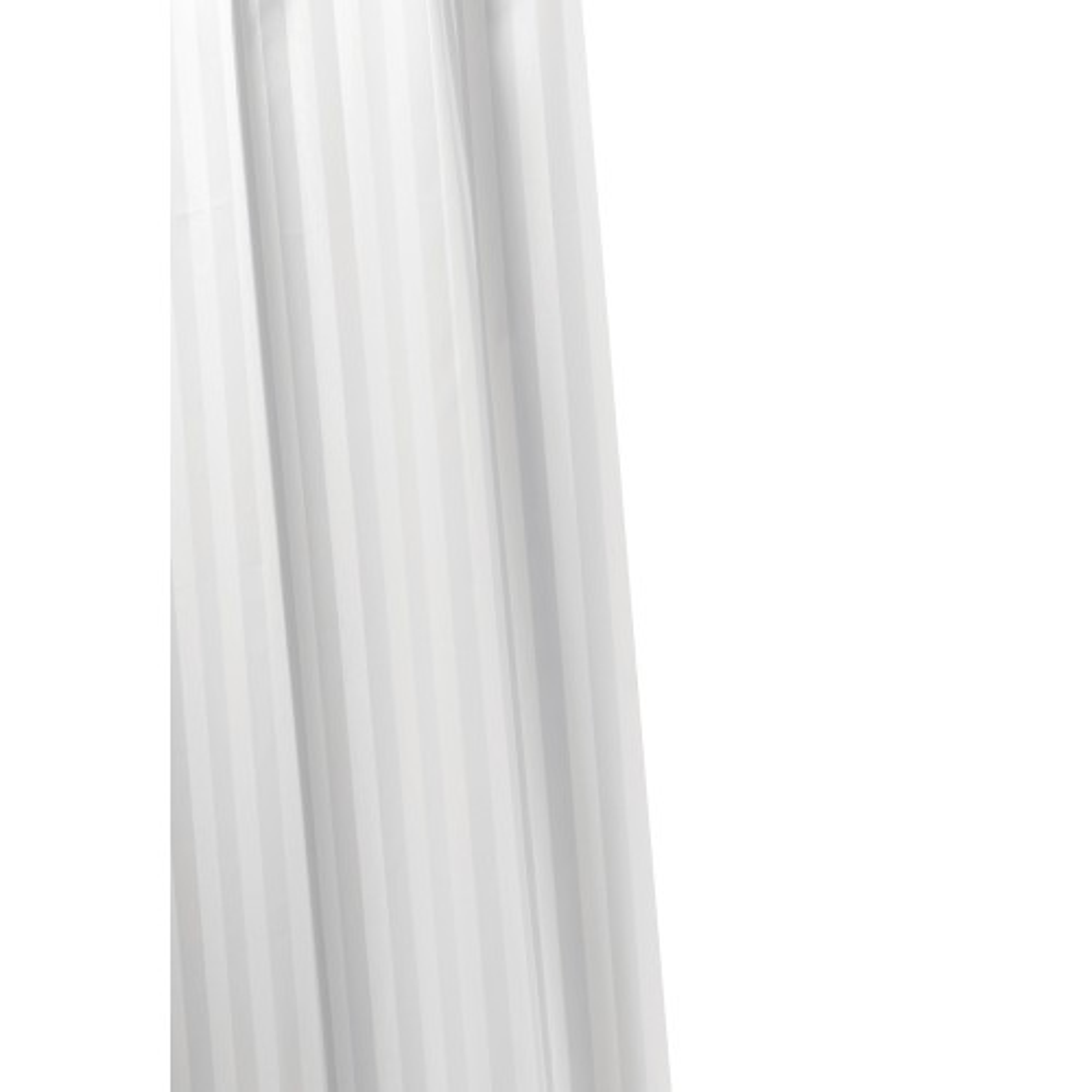 Croydex Woven Stripe Text Wh Curtain, White