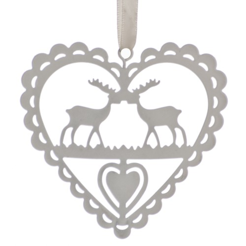 Festive Metal Heart With Reindeers Decoration