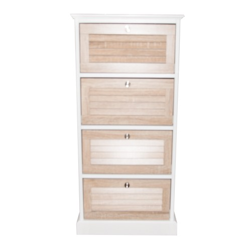 Casa 4 Drawers Cabinet Slatted Wood