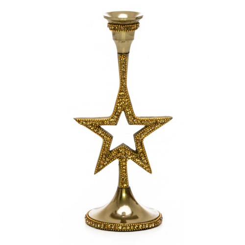 Casa Star Candle Holder Honey Crystal, Gold
