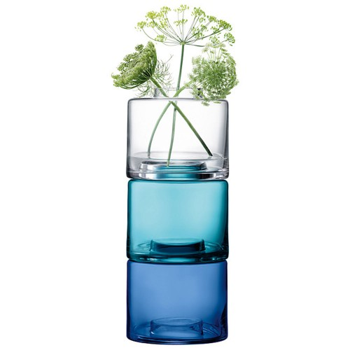 Lsa Stack Vase Trio 41.5cm x3, Blue/Clear