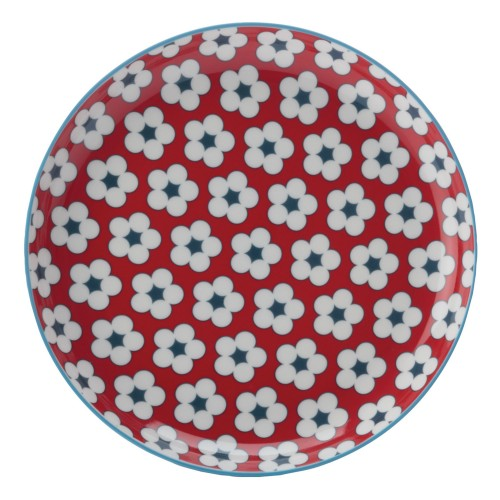 Christopher Vine Cotton Bud Side Plate, Red