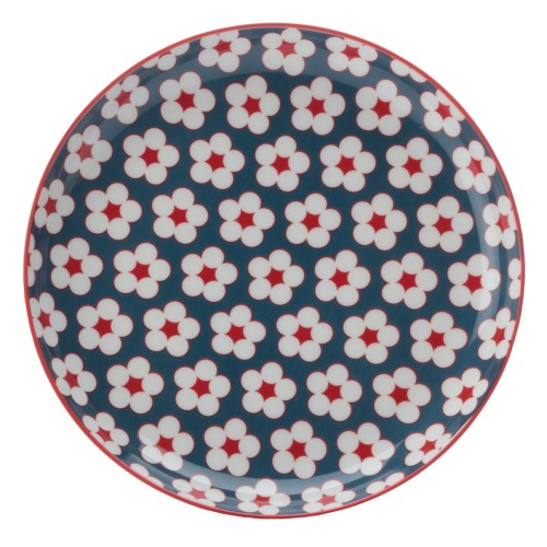Christopher Vine Cotton Bud Side Plate, Dark Blue