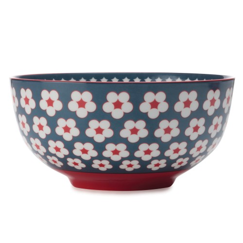 Christopher Vine Cotton Bud Large Bowl, Dark Blue