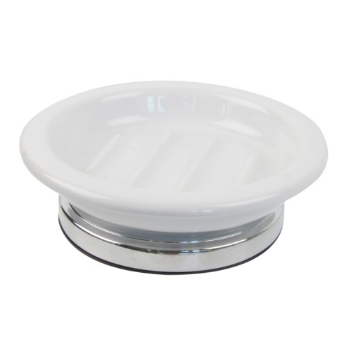 Miller Of Sweden Ceramic Soap Dish F/s, White/chrome