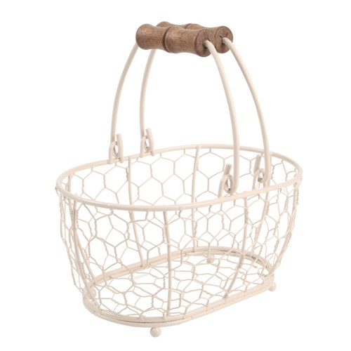 Provence Small Oval Basket, Cream