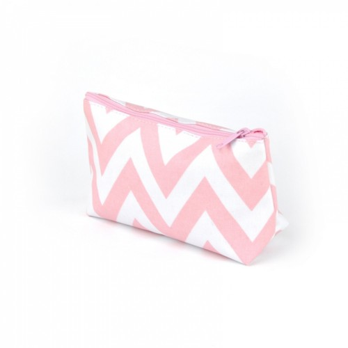 Half Moon Cosmetic Bag Small Pink/wht