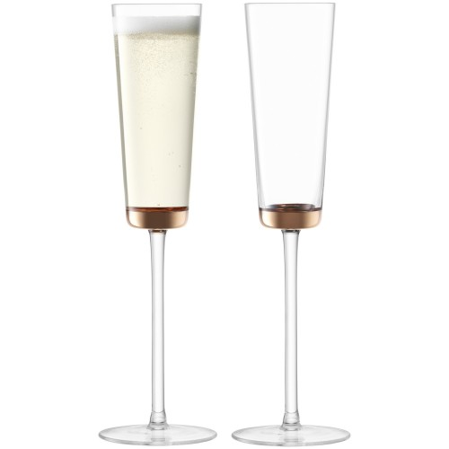 LSA Edge Champagne Flute Rose Gold x 2