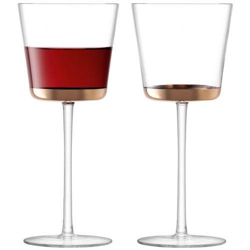 LSA Edge Red Wine Glass Rose Gold x 2