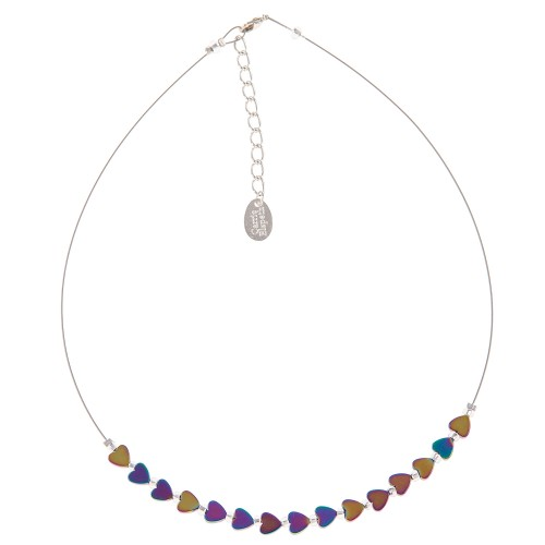 Carrie Elspeth Rainbow H Hearts Necklace, Multi