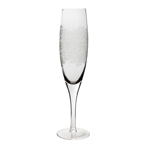 Monsoon Filigree Champagne Flute Pack Of 2, Clear Etched