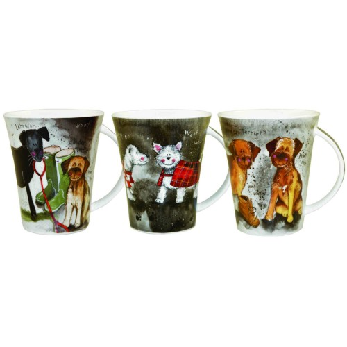 Alex Clarke 3 Assorted Dogs Flirt Mugs