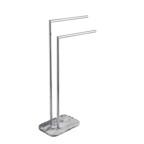Showerdrape Athena Marble Towel Stand, White