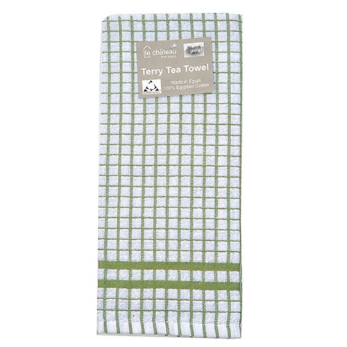 Le Chateau Small Check Tea Towel, Green