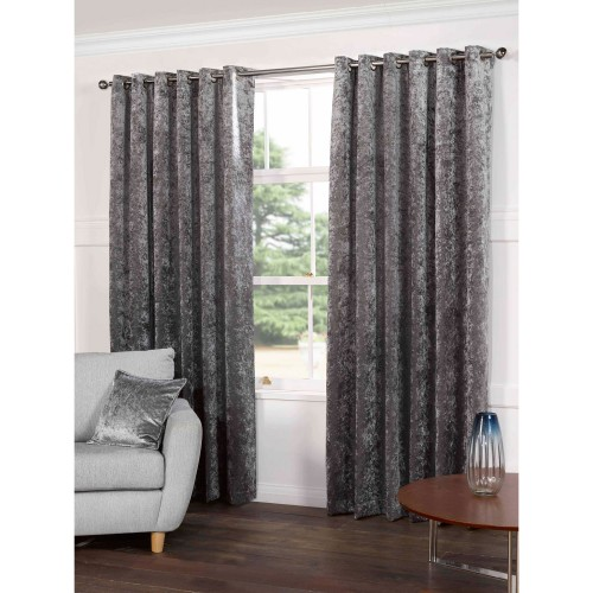 Gordon John Plush Curtains, 229x137, Steel