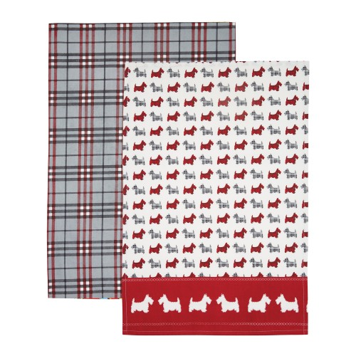 Kitchencraft Scottie Dog Pack Of 2 Tea Towel