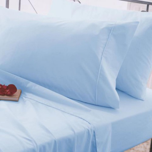 Belledorm 200 Thread Count Fitted Sheet, Double, Sky Blue.