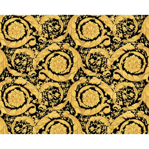 Versace Barocco Flowers Wallpaper, Gold/Black