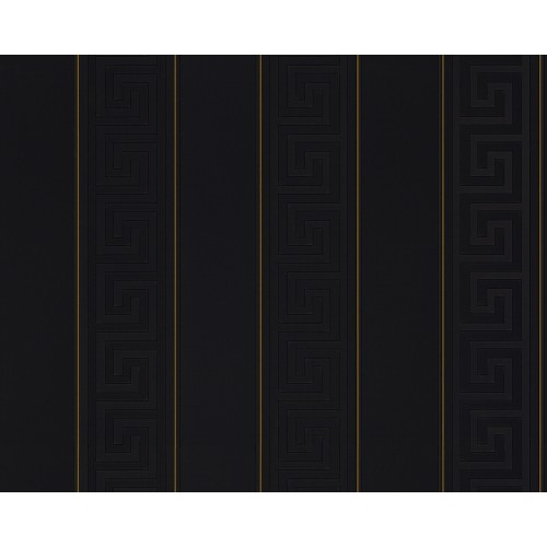 Versace Greek Stripe Wallpaper, Black/Gold