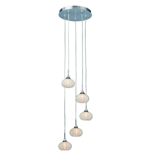 Casa Orb 5 Drop Pendant, Chrome