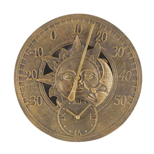 Smart Garden Sun & Moon Wall Clock, Gold