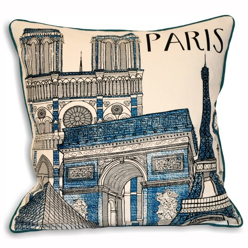 Riva Paoletti Cityscape Paris 45x45 Cushion, Blue