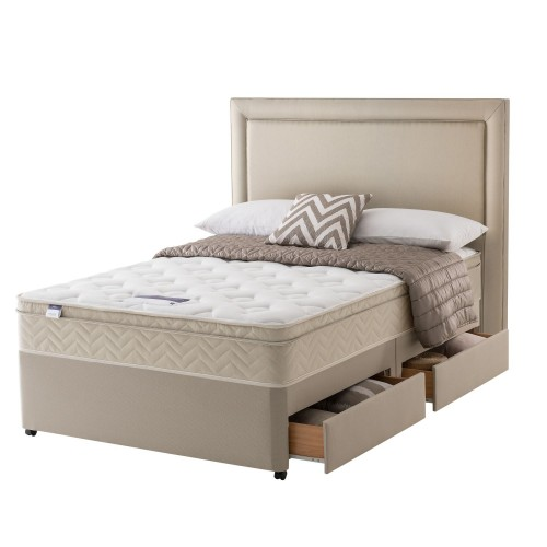 Silentnight Milan Platform Top 2+2 Drawer Divan Set Superking