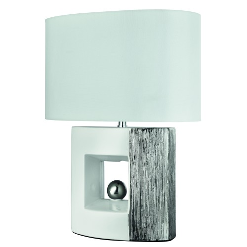 Casa Ambra Square Table Lamp, White