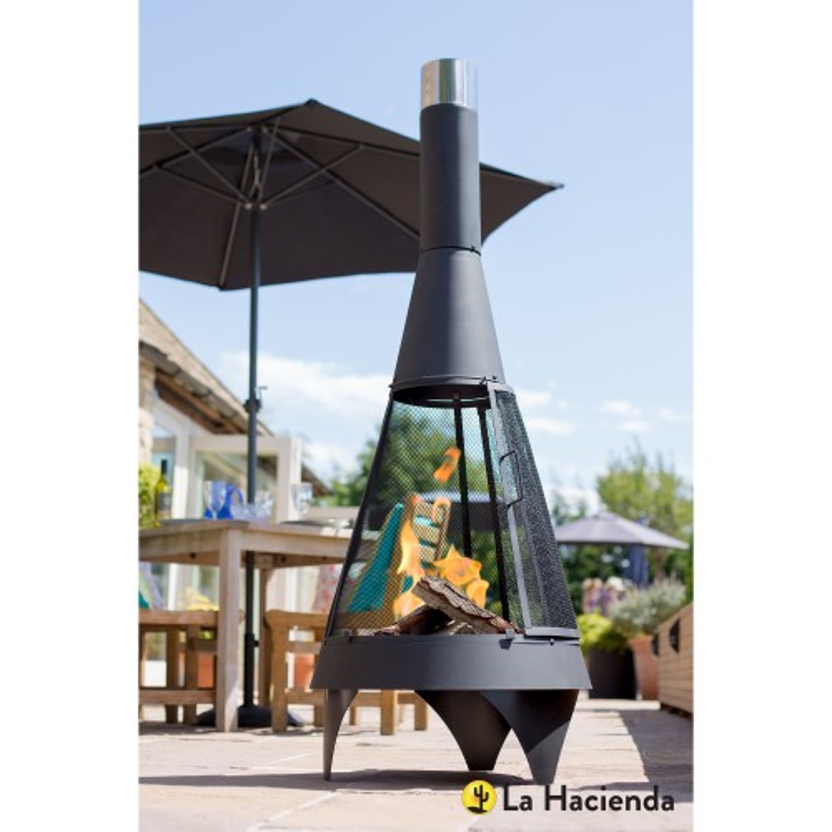 La Hacienda Colorado Contemporary Chimenea, Black Steel