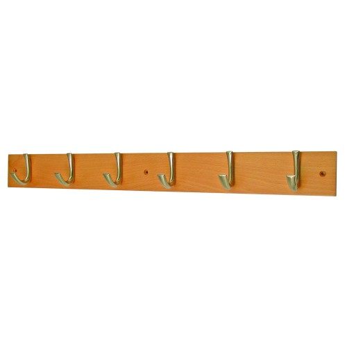 Headbourne 6 Modern Hooks on Solid Beech Coat Rack