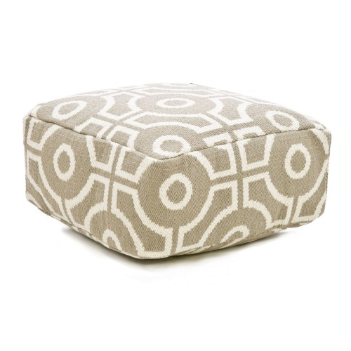 Casa Cut Circle Pouf, Natural/white