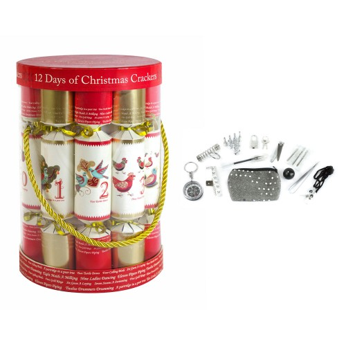 RSW International 12 Days Of Christmas Crackers, Red/White/Gold