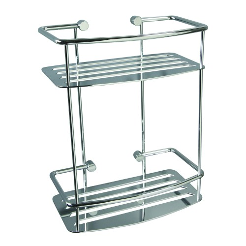 Miller Classic 2 Tier D Shaped Shower Shelf, Chrome
