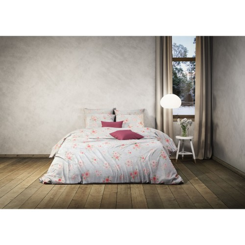 Casa Katherine Brushed Duvet Set Double, Pink
