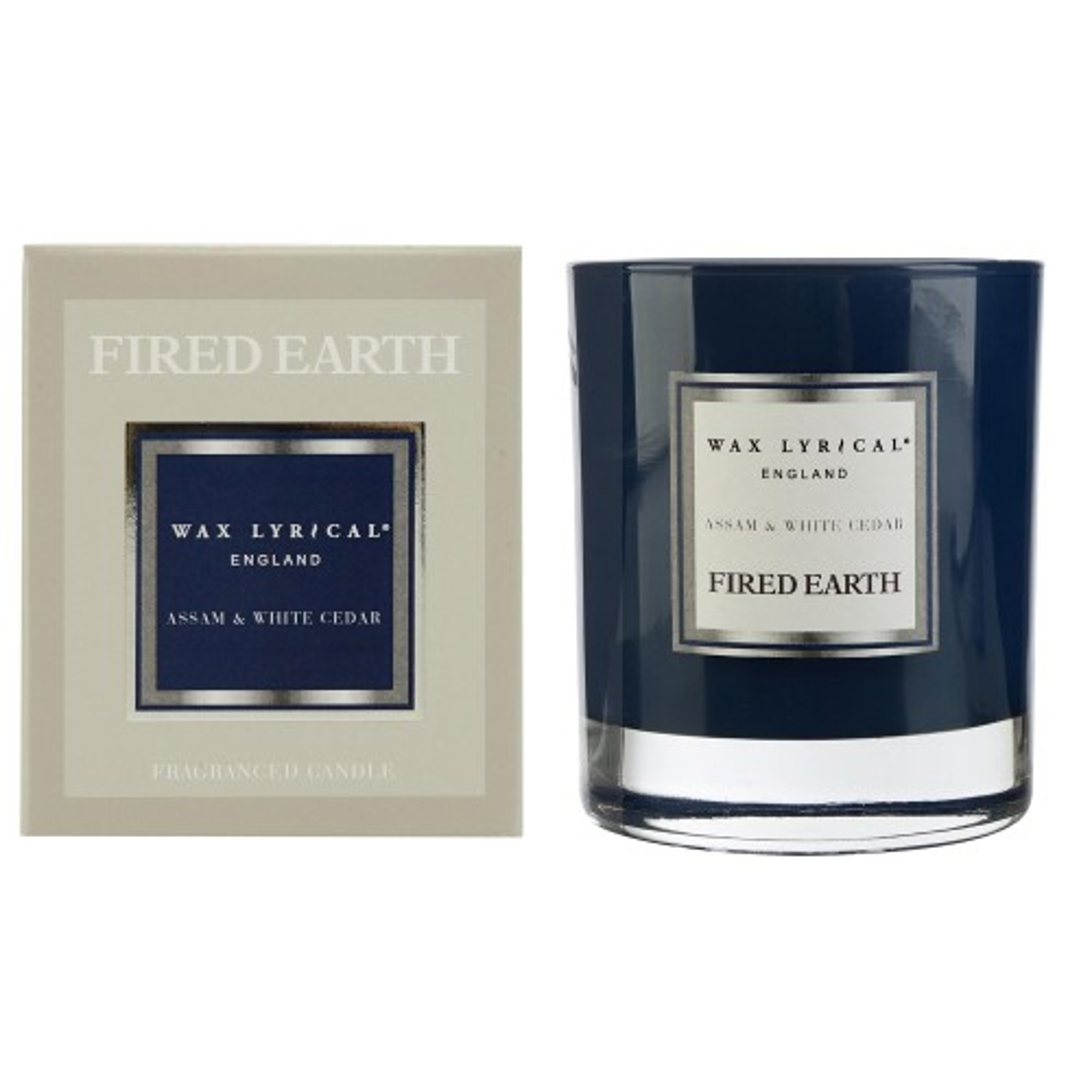 Fired Earth Candle Jar Assam & White Cedar, Blue