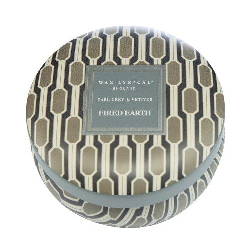 Fired Earth Candle Tin Earl Grey, Grey