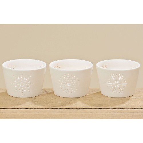 Boltze Flake Tealight Holder, White