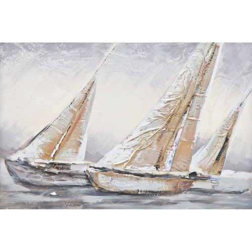 Casa Sailing Yachts Hand Painting, Beige