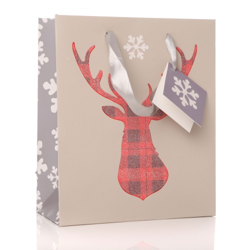 Junction Eighteen Gift Bag Glitter Stag, Red