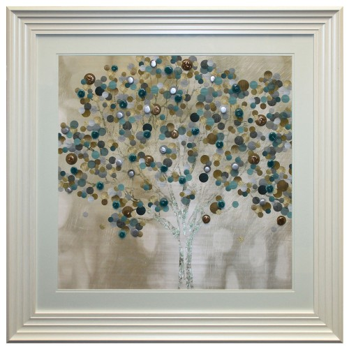 Complete Colour Teal Bubble Tree Liquid Art, Multi