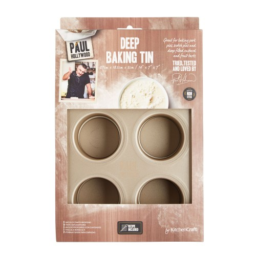 Kitchencraft Paul Hollywood 6 Hole Deep Pie Pan