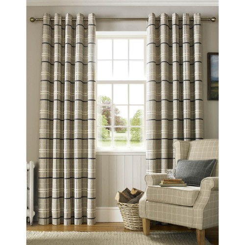 Ashley Wilde York Lined Eyelet Curtains 229x183cm, Charcoal/gold