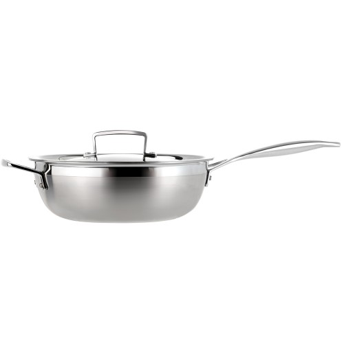 Le Creuset 3-Ply Stainless Steel, 24cm Chefs Pan with Lid